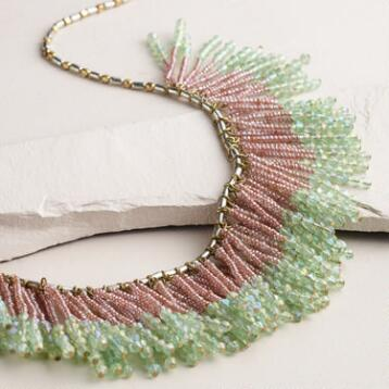 Gold Mint Beaded Fringe Necklace