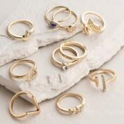 Gold Mixed Midi Rings, Set of 10