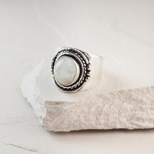 Silver Round Moonstone Ring