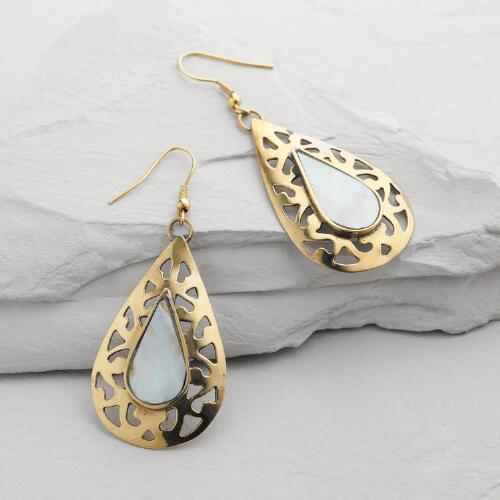 Gold Mother of Pearl Teardrop Earrings