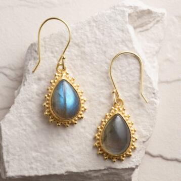 Gold Labradorite Drop  Earrings