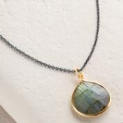 Gold Labradorite Teardrop Pendant Necklace