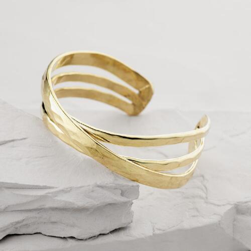 Gold Hammered Crisscross Bracelet