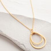 Long Gold Teardrop Pendant Necklace