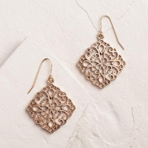 Gold Filigree Diamond Drop Earrings