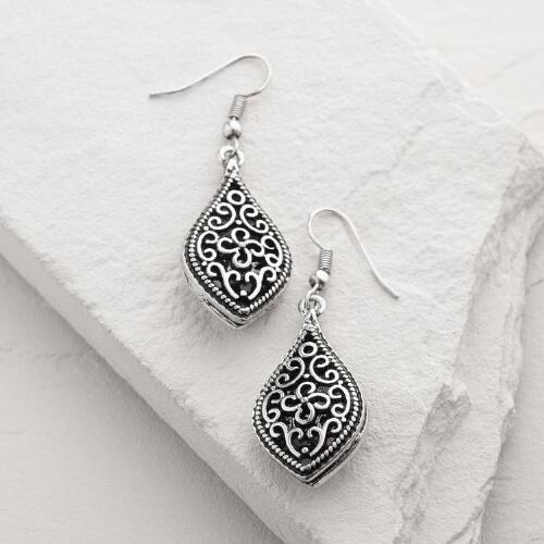 Silver Turkish-Style Drop Earrings