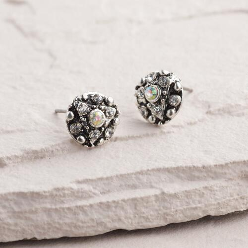 Silver Pave and Opalescent Stone Stud Earrings