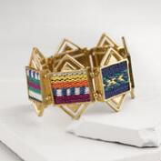 Gold with Fabric Stretch Bracelet