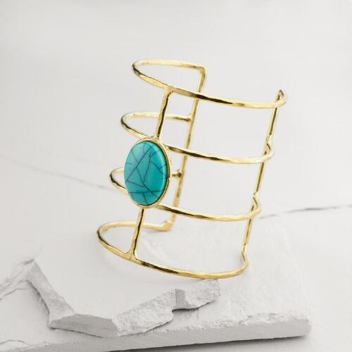 Gold Turquoise Statement Cuff Bracelet