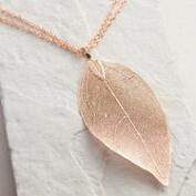 Rose Gold Leaf Pendant Necklace