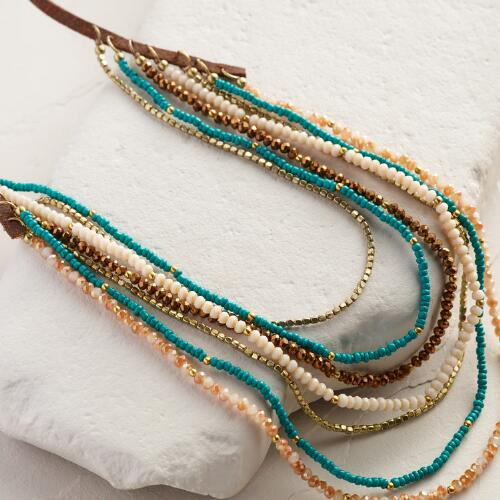 Faux Suede and Bronze Bead Layered Necklace