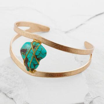 Gold Turquoise Wire-Wrapped Cuff Bracelet