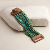 Gold and Turquoise Wood Clasp Bracelet