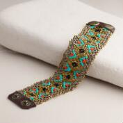 Metallic Beaded Tribal Snap Bracelet