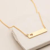Gold Heart Bar Necklace