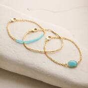 Gold Faceted Aqua Stone Bracelets Set of 3