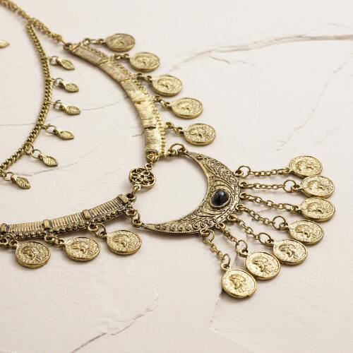 Gold Coin Layered Statement Necklace