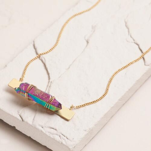 Gold Bar Quartz Necklace