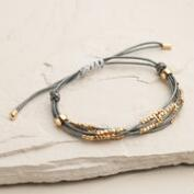 Gray and Gold Layered Beaded Friendship Bracelet