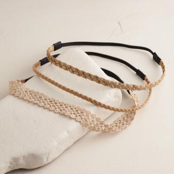 Natural Tonal Braided Headbands, Set of 3