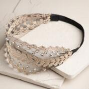 Wide Lace Rhinestone Headband