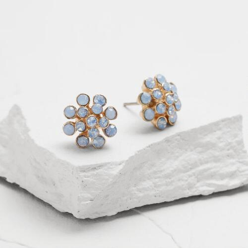 Gold and Blue Opal Stud Earrings