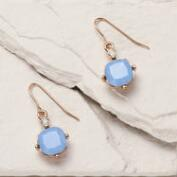 Gold and Blue Opal Square Drop Earrings