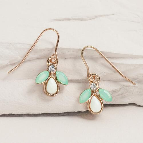 Gold, Mint and White Drop Earrings