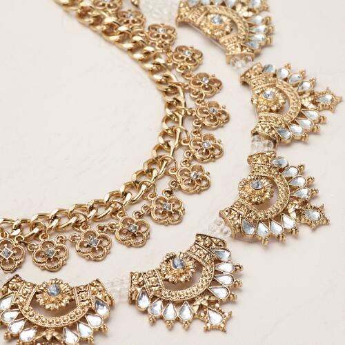 Gold Chain Double Layer Statement Necklace