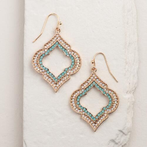 Gold, Mint and Opal Lantern Drop Earrings