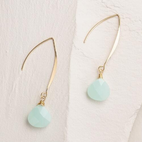 Gold and Mint Linear Drop Earrings