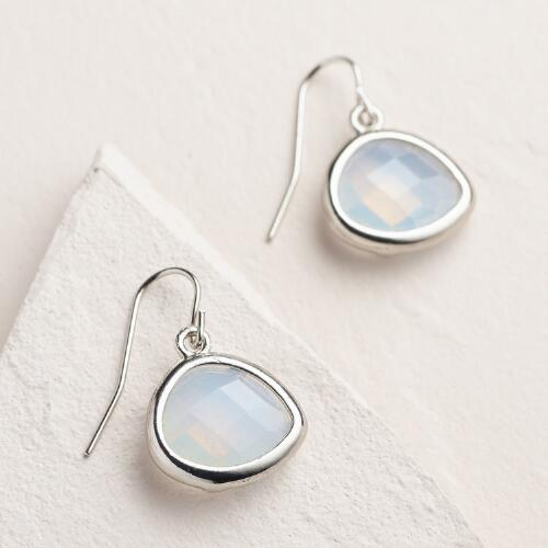 Silver Faceted Opal Drop Earrings