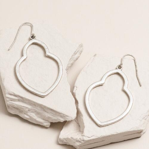Silver Textured Open Drop Earrings