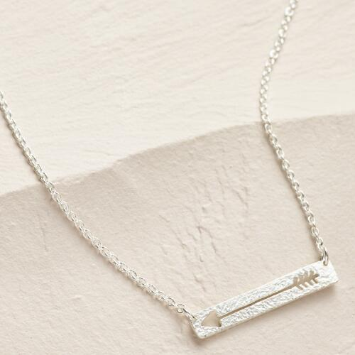 Silver Arrow Bar Necklace