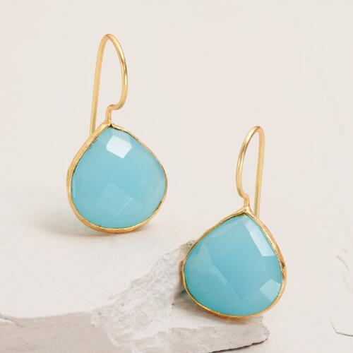 Gold Aqua Teardrop Aqua Earrings