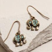 Gold Elephant Opal Drop Earrings