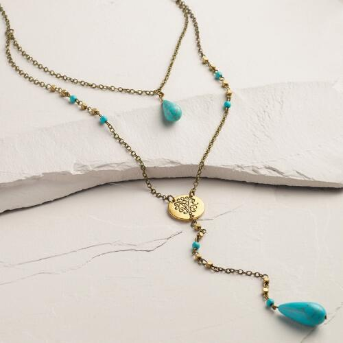 Turquoise Bead Lariat Pendant Necklace