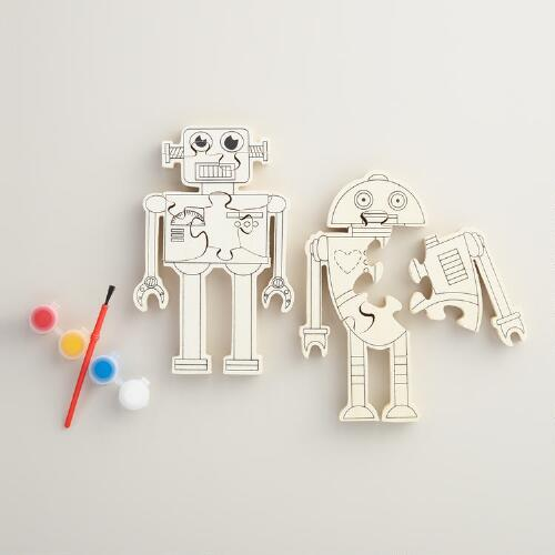 Paint Your Own Wood Robot Puzzle
