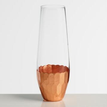 Copper Stemless Champagne Flutes Set of 4