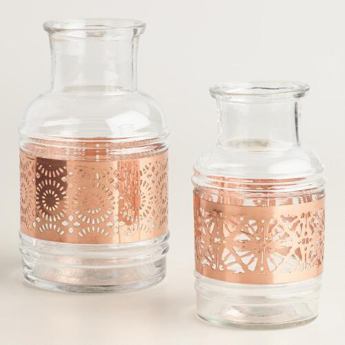 Copper Laser Cut Glass Vase