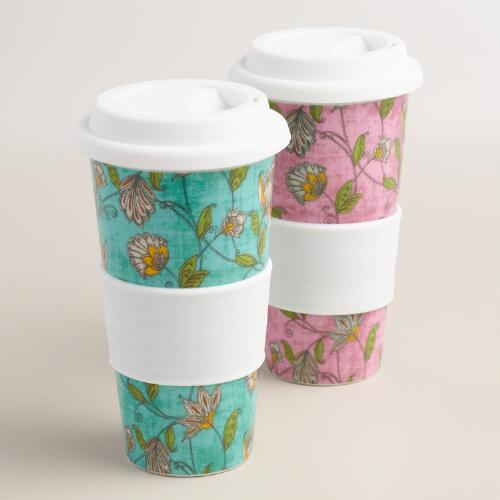 Floral Ceramic Travel Not A Paper Cup, Set of 2