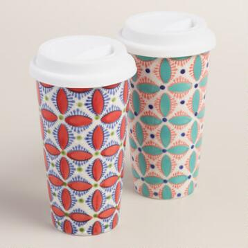 Medallion Ceramic Travel Not A Paper Cup, Set of 2