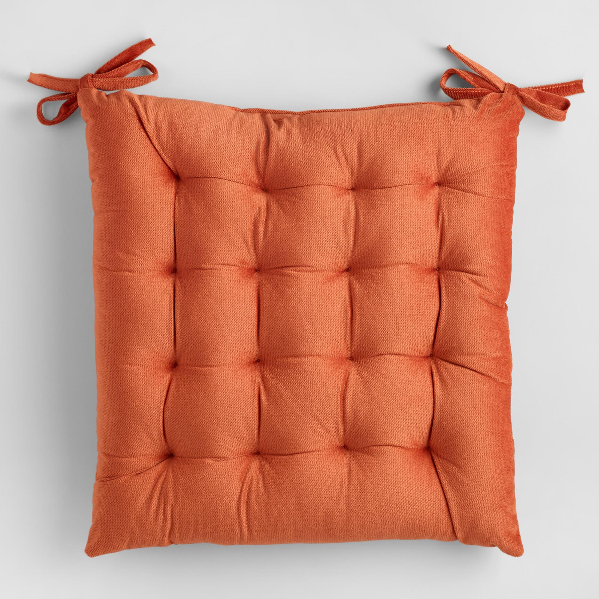 Rust orange velvet chair cushion world market - Orange kitchen chair cushions ...