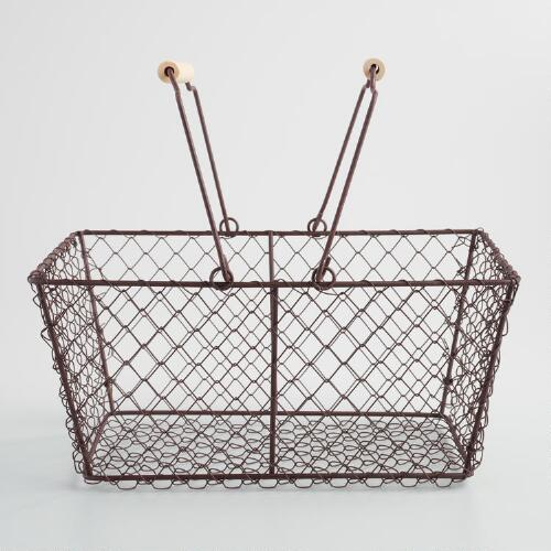 Rectangular Rustic Wire Basket