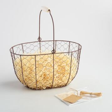 Oval Rustic Wire Basket Kit