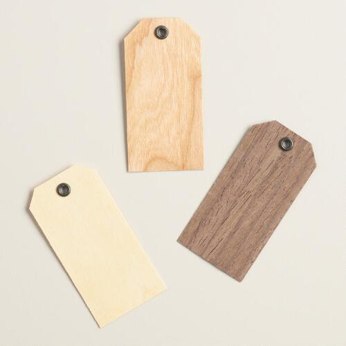 Mini Wood Veneer Gift Tags, Set of 12