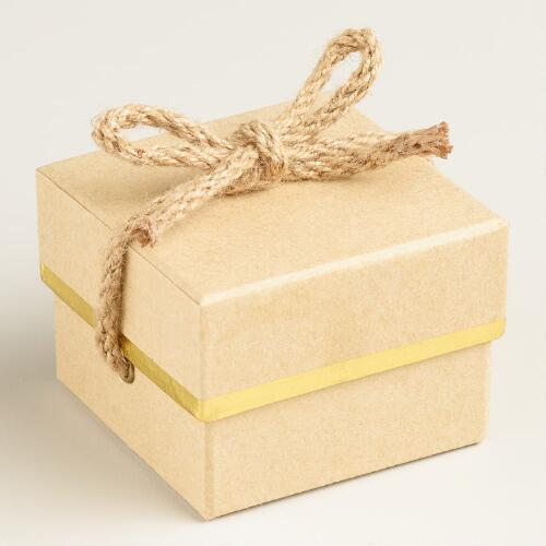 Mini Square Kraft Gift Boxes with Ribbon, Set of 2