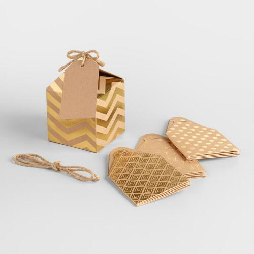 Small Gold Foil Gift Boxes, Set of 8