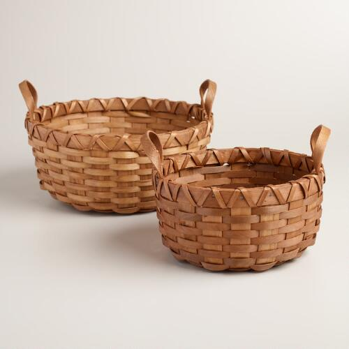 Round Dark Honey Wood Baskets, Set of 2