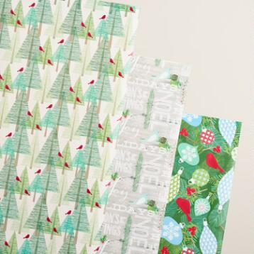 Greetings, Trees and Cardinals Wrapping Paper Rolls, 3 Pack